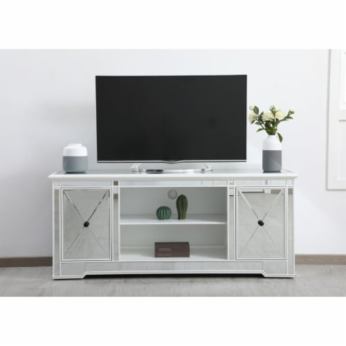 Modern 60 in. mirrored tv stand in antique white Perspective: back