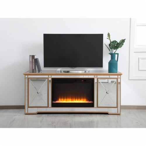 Modern 60 in. mirrored tv stand with crystal fireplace in antique gold Perspective: back