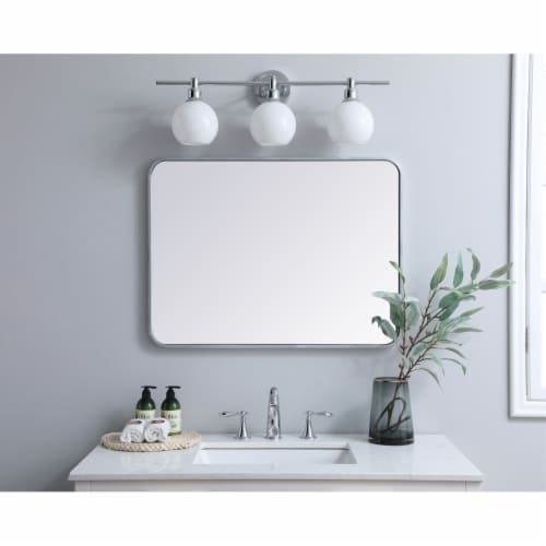 Soft corner metal rectangular mirror 24x32 inch in Silver Perspective: back