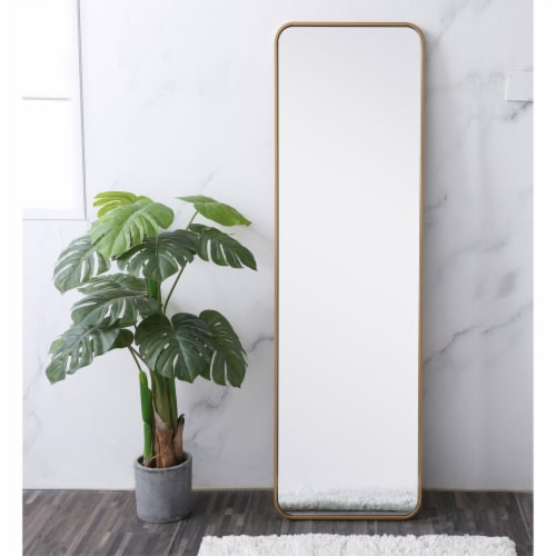 Soft corner metal rectangular mirror 18x60 inch in Brass Perspective: back