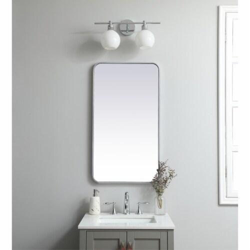 Soft corner metal rectangular mirror 20x36 inch in Silver Perspective: back