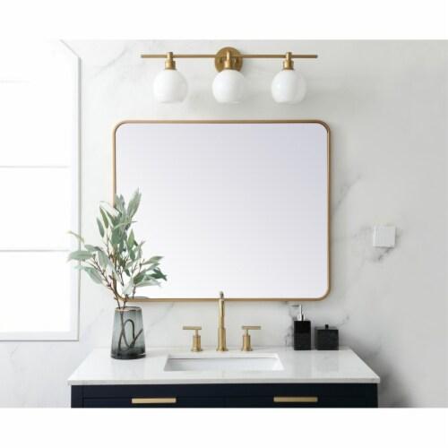Soft corner metal rectangular mirror 30x36 inch in Brass Perspective: back