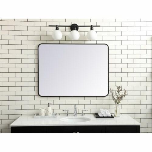 Soft corner metal rectangular mirror 30x40 inch in Black Perspective: back