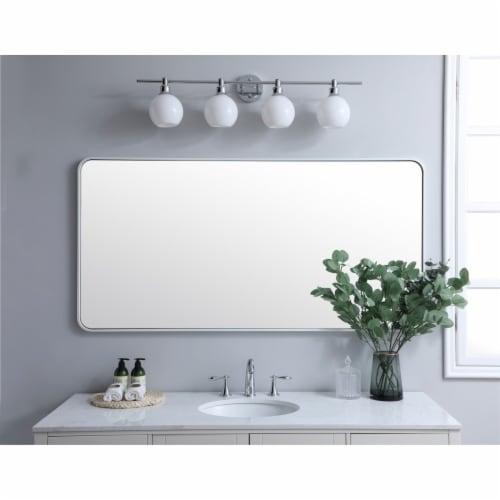 Soft corner metal rectangular mirror 30x60 inch in White Perspective: back