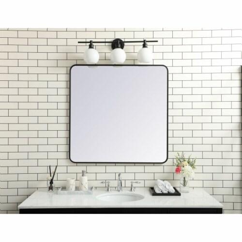 Soft corner metal rectangular mirror 36x36 inch in Black Perspective: back