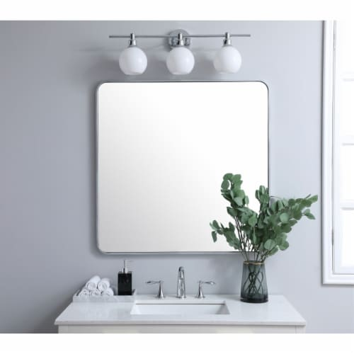 Soft corner metal rectangular mirror 36x36 inch in Silver Perspective: back