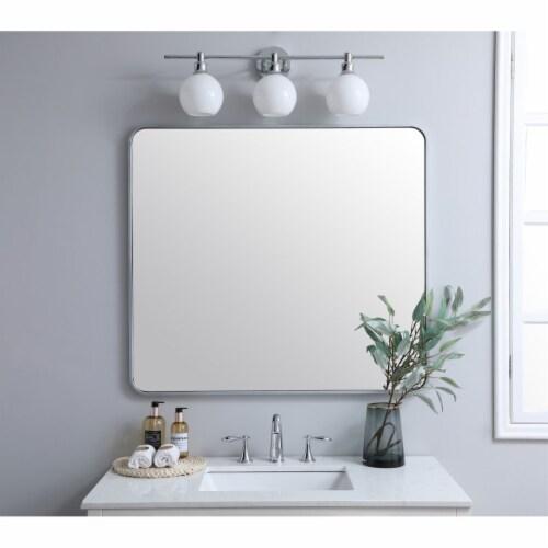 Soft corner metal rectangular mirror 36x40 inch in Silver Perspective: back