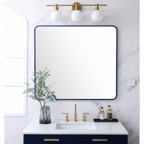 Soft corner metal rectangular mirror 36x40 inch in Blue Perspective: back