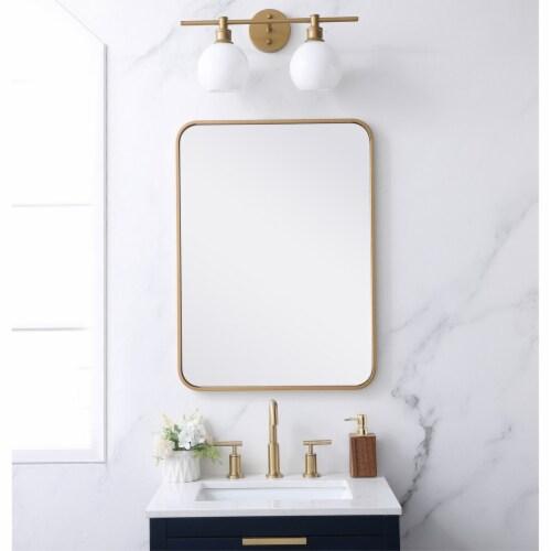 Soft corner metal rectangular mirror 22x30 inch in Brass Perspective: back