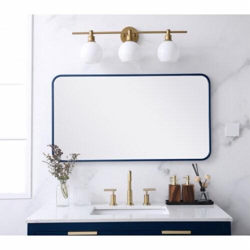 Soft corner metal rectangular mirror 22x40 inch in Blue Perspective: back
