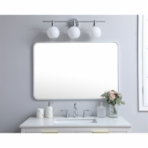 Soft corner metal rectangular mirror 27x40 inch in White Perspective: back