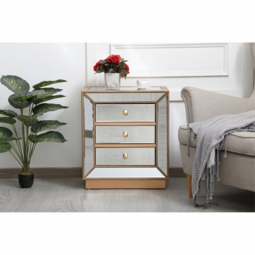 21 inch mirrored chest in antique gold Perspective: back