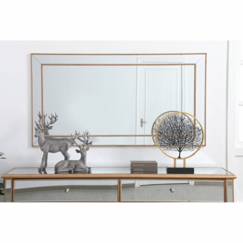Iris beaded mirror 60 x 32 inch in antique gold Perspective: back
