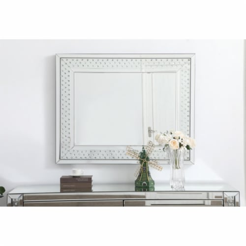 Sparkle collection crystal mirror 32 x 40 inch Perspective: back