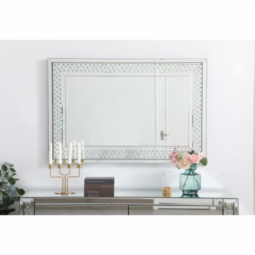Sparkle collection crystal mirror 32 x 48 inch Perspective: back