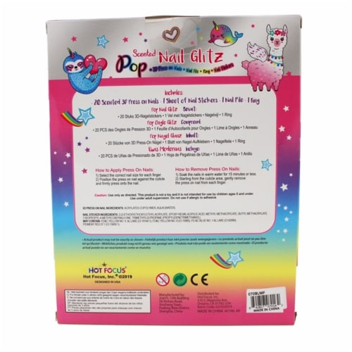 Scented Nail Glitz Llama - 20 Scented 3D Press on Nails, Matching Ring, 40+ Nail Stickers Perspective: back