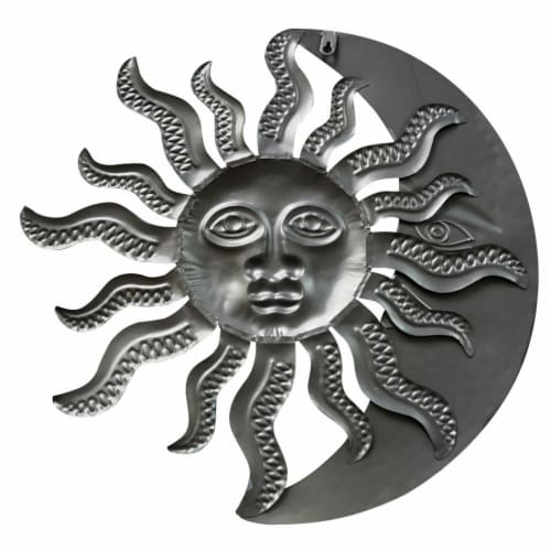 Benzara Celestial Sun and Moon Metal Wall Art Decor - Gold/Rust Brown Perspective: back