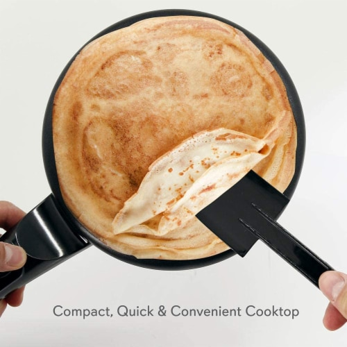 NutriChef Electric Plug In Countertop Crepe Maker and Griddle Hot Plate, Black Perspective: back