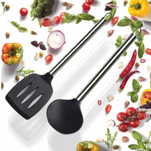 NutriChef PKSPT15 Non-Stick Spatula and Ladle Set Perspective: back