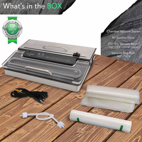 NutriChef PKVS50STS Kitchen Pro Food Electric Vacuum Sealer Preserver System Perspective: back