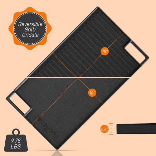 NutriChef NCCIRG59 18-Inch Cast Iron Reversible Grill Plate Perspective: back