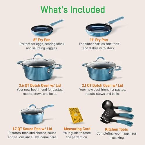 NutriChef NCCW11BL 11-Piece Lines Kitchenware Pots and Pans Set (Blue) Perspective: back