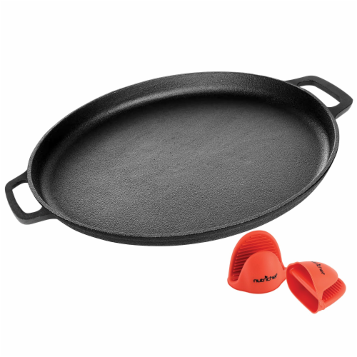 NutriChef NCCIPD 14-Inch Cast Iron Pizza/Baking Pan Perspective: back