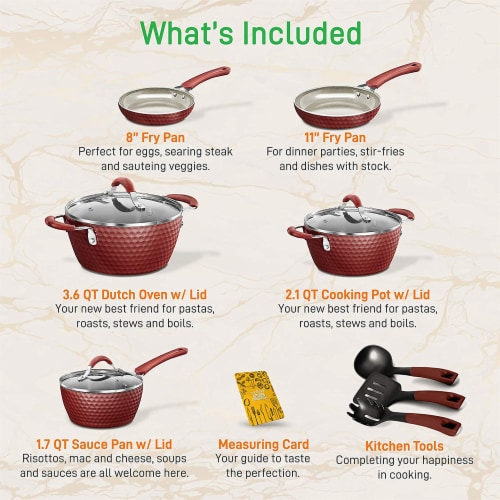 NutriChef 11 Piece Nonstick Ceramic Cooking Kitchen Cookware Pots & Pan Set, Red Perspective: back