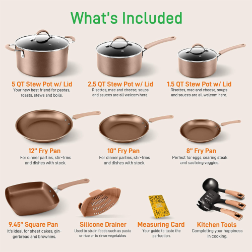 NutriChef Nonstick Cooking Kitchen Cookware Pots and Pans, 14 Piece Set, Bronze Perspective: back