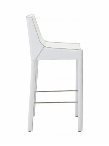 ZUO Fashion 26  Faux Leather Bar Stool in White (Set of 2) Perspective: back