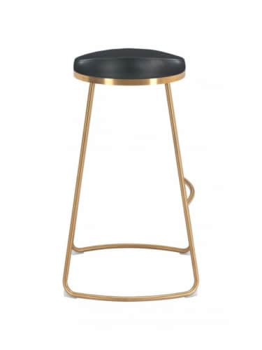 Zuo Modern Backless Bree Round Barstool - Black and Gold Perspective: back