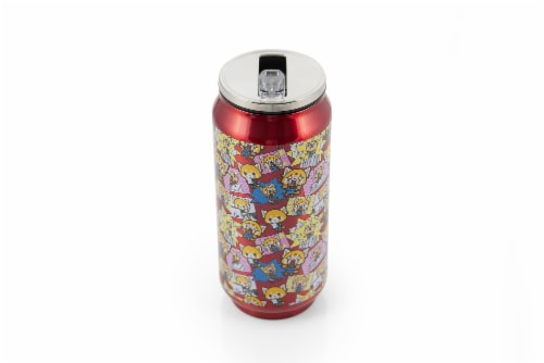 Aggretsuko Pink Power Stainless Steel Travel Can With Lid & Straw Perspective: back