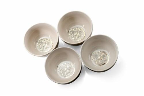 Harry Potter Hogwarts Emblem White & Grey Ceramic Bowl Collection | Set of 4 Perspective: back