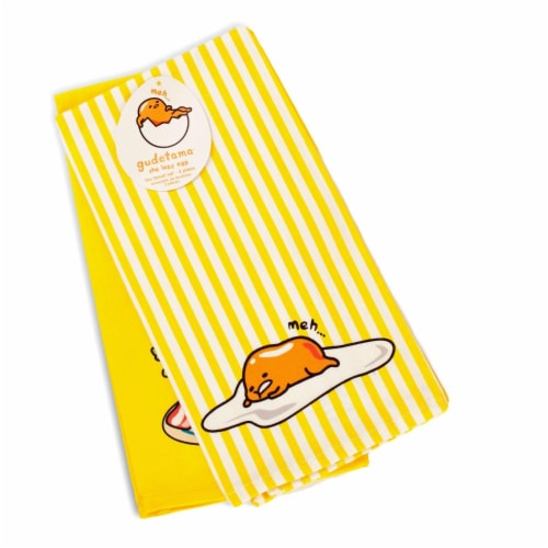 OFFICIAL Gudetama Lazy Egg Cute Dish Towels | Perfect Kitchen Accents | Set of 2 Perspective: back