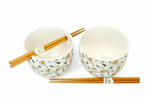 Gudetama 2 Pack 4 inch Ceramic Bowl & Chopstick Set Perspective: back