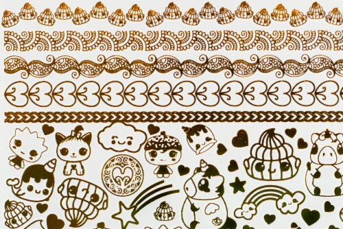 Glitter Galaxy Gold Shimmer Temporary Tattoo Sheet Wave 1 Perspective: back