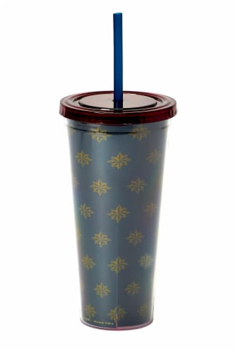 Marvel's Captain Marvel Actually I Can 16-Oz PVC Tumbler w/ Lid and Straw Perspective: back