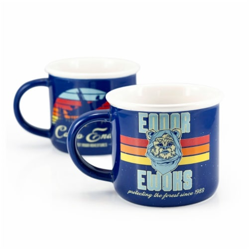 Star Wars Camp Endor Retro Mugs | Ewok Forest Camp of Endor Cups | Set of 2 Mugs Perspective: back
