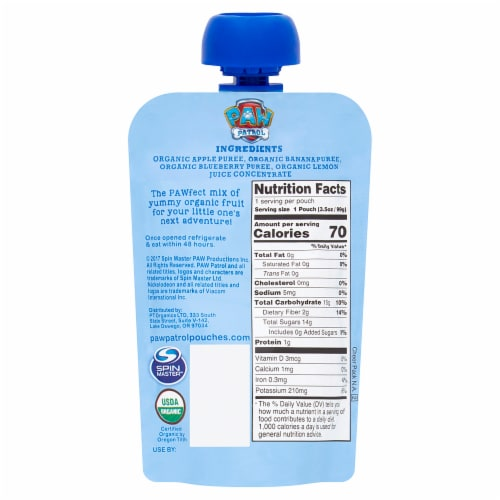 Paw Patrol Bold Blueberry Organic Mixed Fruit Puree Perspective: back