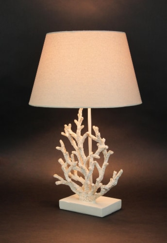 White and Gold Branch Coral Design Table Lamp With Matching Shade 21.5 Inches Tall Perspective: back
