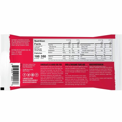Lakanto Sugar Free 55% Cacao Chocolate Bar, 3 Ounce (8 Pack). Perspective: back