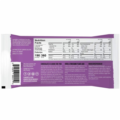 Sugar Free 55% Cacao Chocolate Bar with Cocoa Nibs Perspective: back