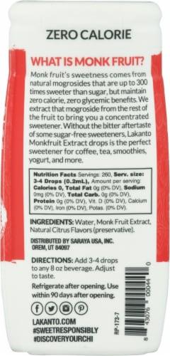 Lakanto Original Monkfruit Liquid Sweetener Extract Drops Perspective: back