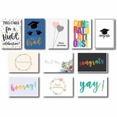 36-Pack Assorted Greeting Card w/ Envelopes, mostly Congratulations Cards, 4 x6 Perspective: back