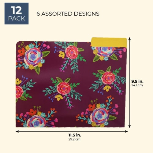 Decorative File Folders with 1/3 Cut Tabs, 6 Vintage Floral Designs (9.5 x 11.5 In, 12 Pack) Perspective: back