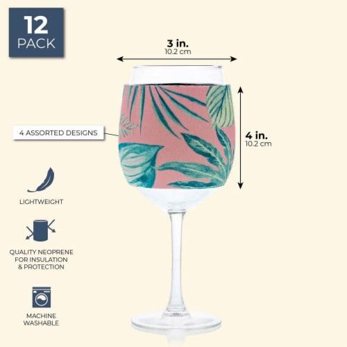12x Neoprene Stylish Protective Wine Glass Beverage Sleeve Protector, 4 Designs Perspective: back