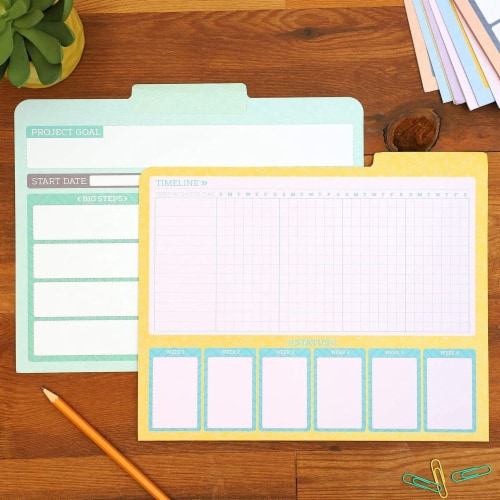 Project File Folders, 1/3 Cut Tab, Letter Size, Notes Section, 6 Colors (12 Pack) Perspective: back