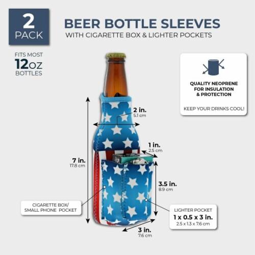 2x US American Flag Beer Bottle Cooler Sleeves with Cigarette+Lighter Holder Perspective: back