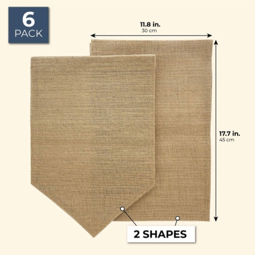 "Juvale 6-Pack Blank Burlap Garden Flag for DIY Decor, 2 Shapes, 17.7"" x 11.8"" Perspective: back"