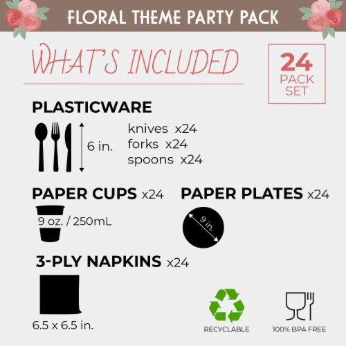 Floral Party Supplies, Paper Plates, Napkins, Cups and Plastic Cutlery (Serves 24,144 Pieces) Perspective: back